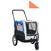 vidaXL mājdzīvnieku velo piekabe, skriešanas ratiņi, pelēki ar zilu