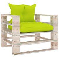 vidaXL dārza palešu dīvāns ar spilgti zaļiem matračiem, priedes koks