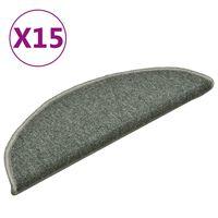 vidaXL kāpņu paklāji, 15 gab., 56x17x3 cm, tumši zaļi