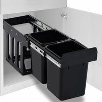 vidaXL izvelkama atkritumu tvertne, lēnās aizvēršanas sistēma, 20 L