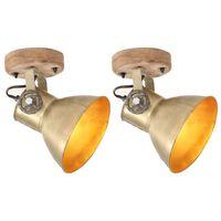 vidaXL sienas/griestu lampas, 2 gab., misiņa krāsā, 20x25 cm, E27