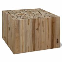 vidaXL kafijas galdiņš, dabīgs tīkkoks, 50x50x35 cm