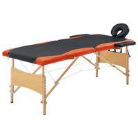 vidaXL saliekams masāžas galds, 2 daļas, koks, melns ar oranžu