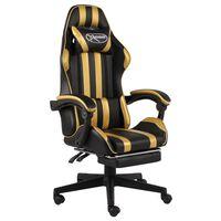 vidaXL biroja krēsls ar kāju balstu, melna un zeltaina mākslīgā āda