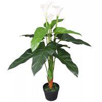 vidaXL mākslīgais augs, kalla llilija ar podiņu, 85 cm, balta