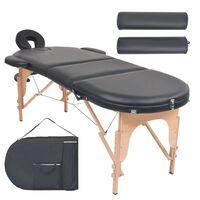 vidaXL masāžas galds ar 2 balstiem, saliekams, ovāls, 4 cm, melns