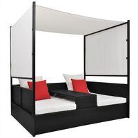 vidaXL dārza gulta ar jumtiņu, melna, 190x130 cm, PE rotangpalma