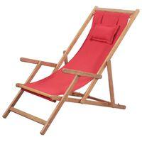 vidaXL saliekams pludmales krēsls, sarkans audums, koka rāmis