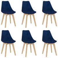 vidaXL virtuves krēsli, 6 gab., zils samts