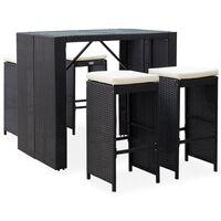 vidaXL 5-daļīgs dārza bāra mēbeļu komplekts, PE pinums, stikls, melns