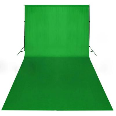 vidaXL fons, 600x300 cm, hromakejs, zaļa kokvilna