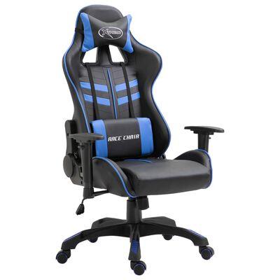 vidaXL datorspēļu krēsls, zila mākslīgā āda