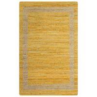 vidaXL paklājs, roku darbs, džuta, dzeltens, 160x230 cm