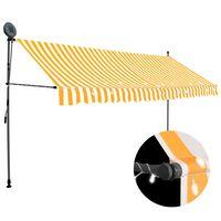 vidaXL izvelkama markīze ar LED, manuāla, 350 cm, balta un oranža
