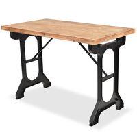 vidaXL virtuves galds, 122x65x82 cm, egles masīvkoks