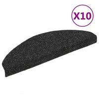 vidaXL kāpņu paklāji, 10 gab., pašlīmējoši, 65x21x4 cm, melni