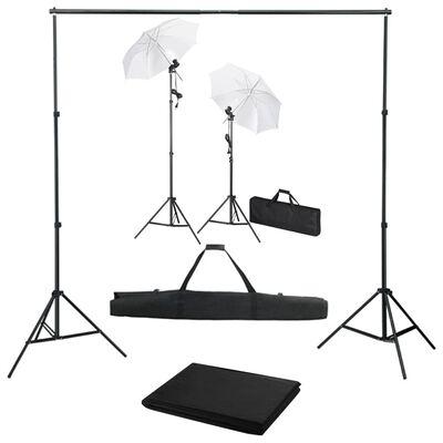 vidaXL fotostudijas komplekts – fons, lampas un lietussargi