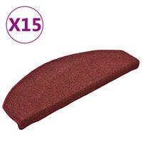 vidaXL kāpņu paklāji, 15 gab., 65x24x4 cm, sarkani