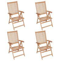 vidaXL atgāžami dārza krēsli, 4 gab., masīvs tīkkoks