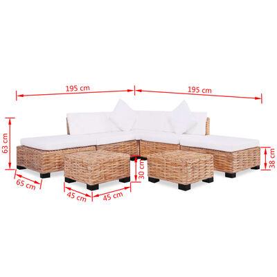 vidaXL dīvānu komplekts, 18 daļas, dabīga rotangpalma