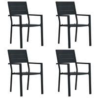 vidaXL dārza krēsli, 4 gab., koka imitācija, melns HDPE