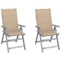 vidaXL atgāžami dārza krēsli ar matračiem, 2 gab., akācijas masīvkoks