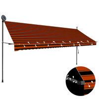 vidaXL izvelkama markīze ar LED, manuāla, 400 cm, oranža un brūna
