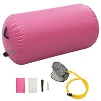 vidaXL piepūšams vingrošanas rullis ar pumpi, 120x90 cm, rozā PVC