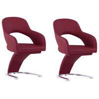 vidaXL virtuves krēsli, 2 gab., vīnsarkana mākslīgā āda