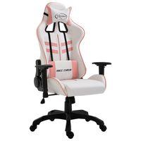 vidaXL datorspēļu krēsls, rozā mākslīgā āda