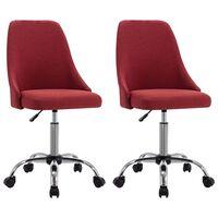 vidaXL grozāmi biroja krēsli, 2 gab., vīnsarkans audums