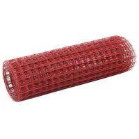 vidaXL stiepļu žogs, tērauds ar PVC pārklājumu, 25x0,5 m, sarkans