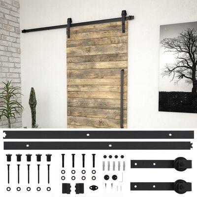 vidaXL bīdāmo durvju sistēma, 183 cm, melns tērauds