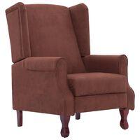 vidaXL atgāžams krēsls, brūns audums