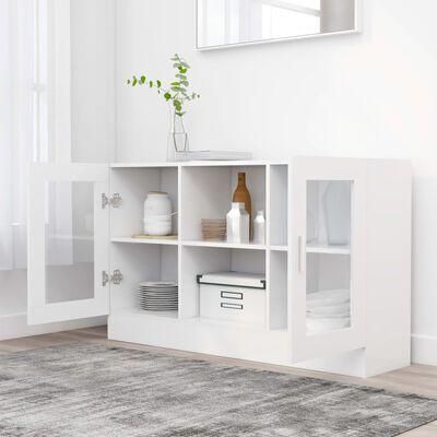 vidaXL vitrīna, balta, 120x30,5x70 cm, skaidu plāksne