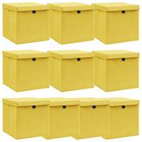vidaXL uzglabāšanas kastes ar vāku, 10 gab., 32x32x32 cm, dzeltenas
