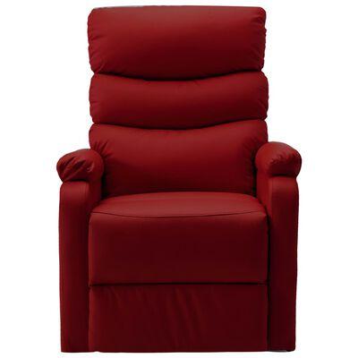 vidaXL atpūtas krēsls, paceļams, vīnsarkana mākslīgā āda