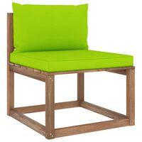 vidaXL vidējais dārza palešu dīvāns ar spilgti zaļiem matračiem