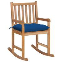 vidaXL šūpuļkrēsls ar zilu matraci, masīvs tīkkoks