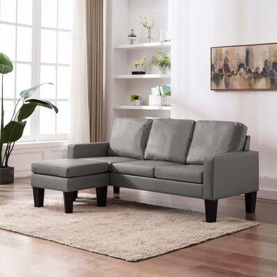 vidaXL trīsvietīgs dīvāns ar kājsoliņu, pelēka mākslīgā āda