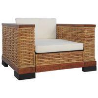 vidaXL atpūtas krēsls ar matračiem, brūna dabīgā rotangpalma