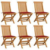 vidaXL dārza krēsli, sarkani matrači, 6 gab., masīvs tīkkoks