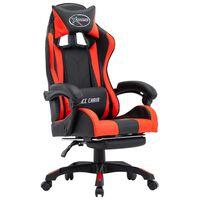 vidaXL biroja krēsls ar kāju balstu, sarkana un melna mākslīgā āda