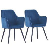 vidaXL virtuves krēsli, 2 gab., zils samts
