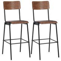 vidaXL bāra krēsli, 2 gab., saplāksnis un tērauds, brūni