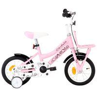 vidaXL bērnu velosipēds ar priekšējo bagāžnieku, 12 collas, balts,rozā