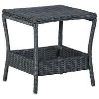 vidaXL dārza galds, tumši pelēks, 45x45x46,5 cm, PE rotangpalma