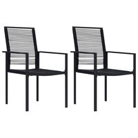 vidaXL dārza krēsli, 2 gab., melni, PVC rotangpalma
