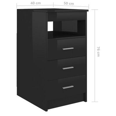 vidaXL atvilktņu skapītis, spīdīgi melns, 40x50x76 cm, skaidu plātne