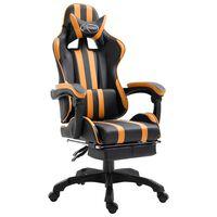 vidaXL datorspēļu krēsls ar kāju balstu, oranža mākslīgā āda